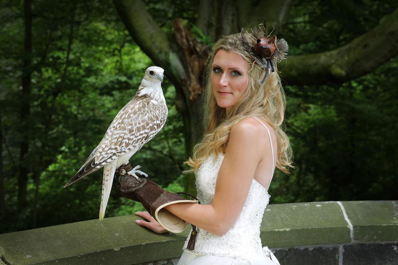 Bride with Gyr Falcon